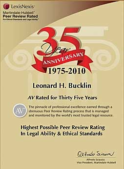 Bucklin ranked AV© Preeminent™ by Martindale Hubble for more than 35 years