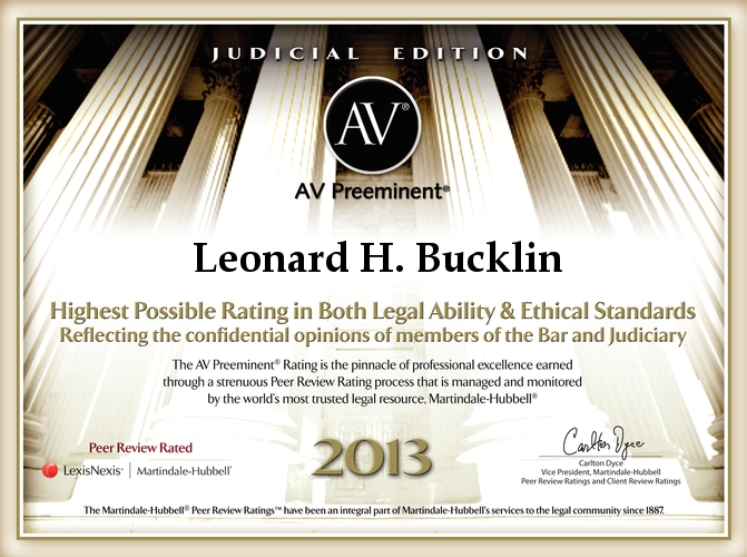 Bucklin is ranked AV®Preeminent™ by Martindale Hubble